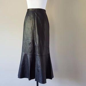 Soft Leather Skirt Size 10 Black Dana Buchman